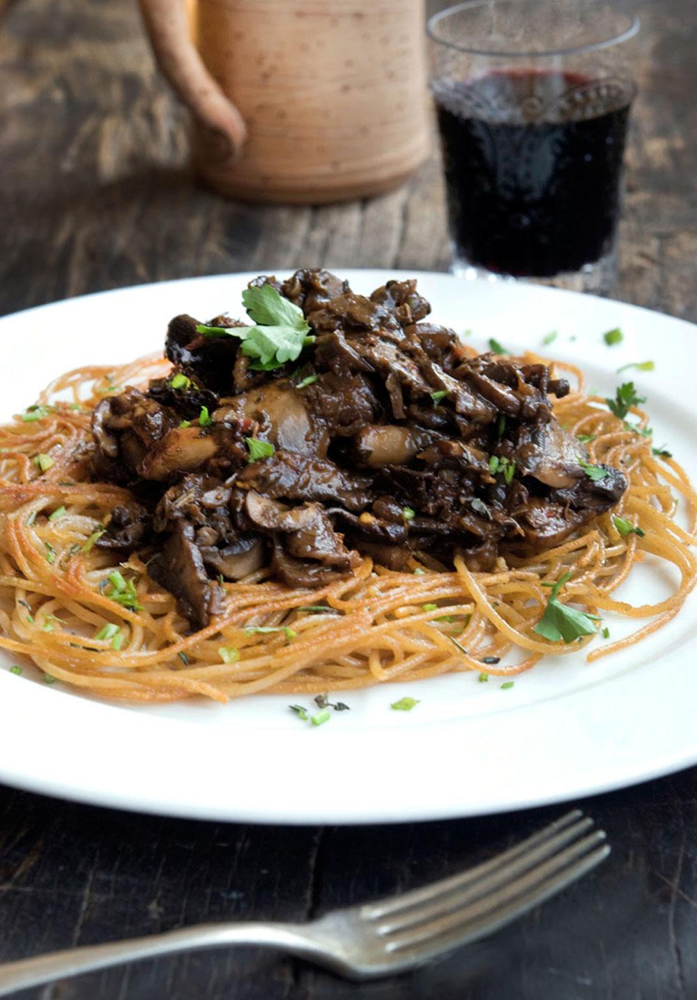 Mushroom Rag 249 With Crispy Pasta Wild Greens Amp Sardines